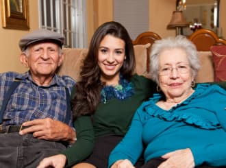 old couple and their grand daughter